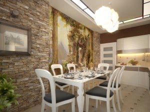 Дизайн интерьера светлой кухни с росписью на стене