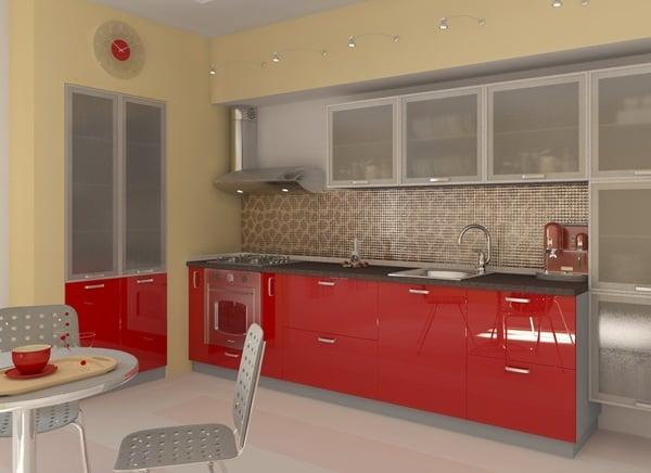 Чтобы кухня выглядела более спокойно, можно оформить стены в теплых тонах