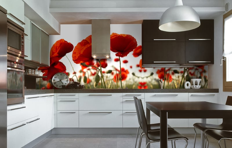 Фотообои в интерьере кухни фото маки