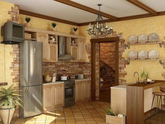 Кухня дизайн с камнем