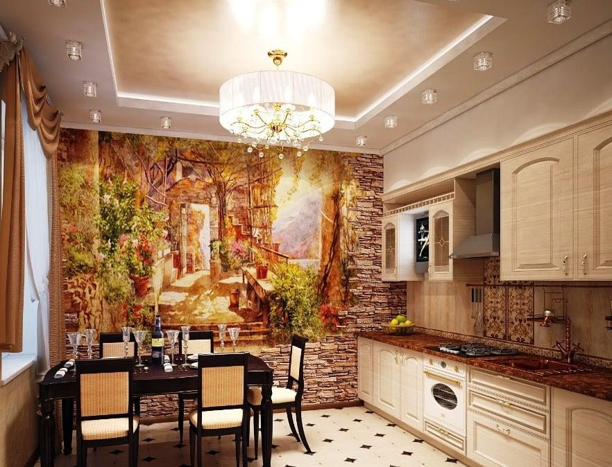 Сочетание камня и росписи в интерьере  - изысканность и роскошь
