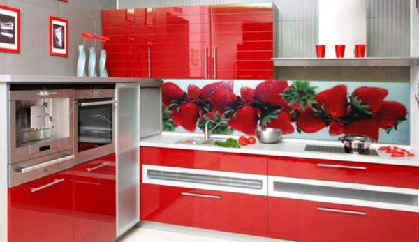 Панели из пластика с ярким рисунком могут стать хорошим акцентом на кухне