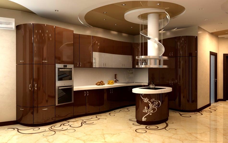 Вариант оформления интерьера кухни в шоколадных тонах