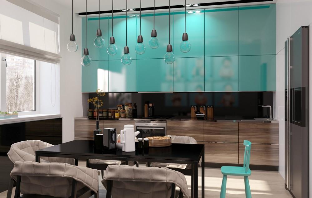 Кухня бирюзового цвета - дизайн в разных стилях оформления и сочетании цветов