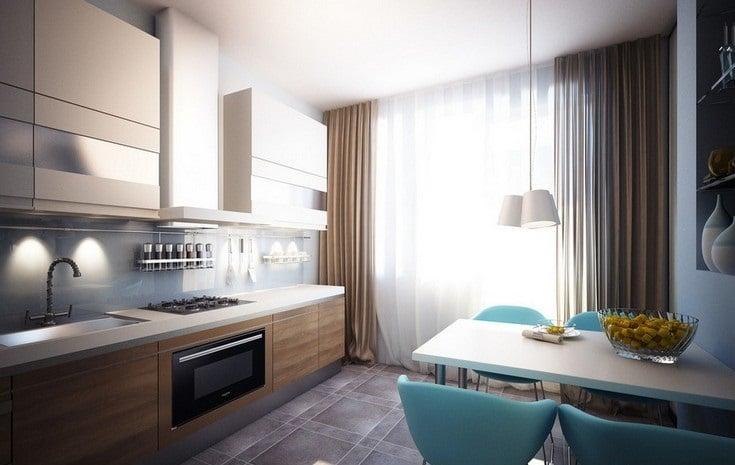 В прямоугольной кухне рабочую зону хорошо разместить вдоль одной стены, а обеденную напротив