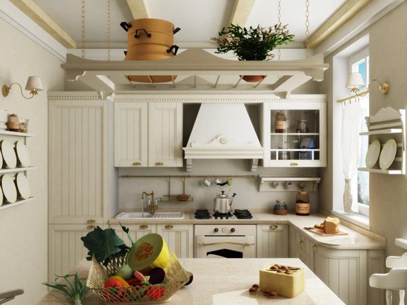 По домашнему уютная кухня может быть оформлена в стиле кантри