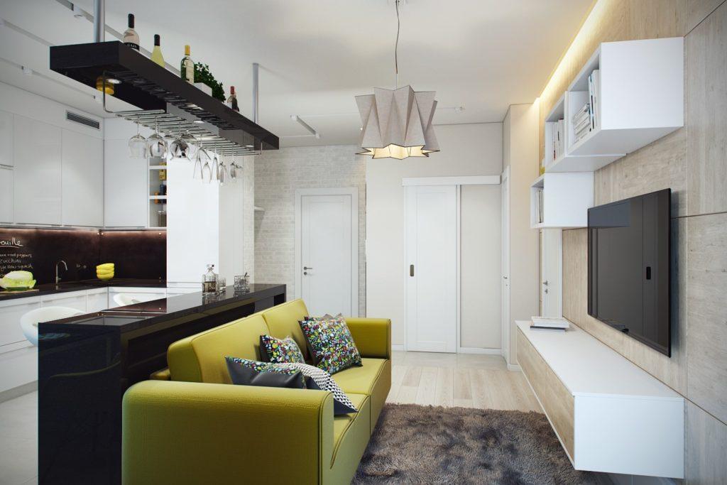Правильная расстановка мебели в кухне - гостиной 15 в квадратах