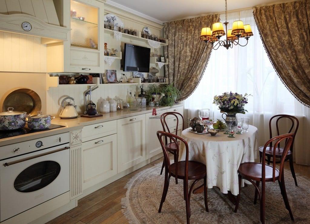 Декор кухни в стиле прованс предполагает наличие деревянной и практичной мебели