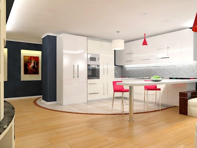 Если вы решили объединить кухню с гостиной то оптимально будет оформить кухню в минималистическом стиле
