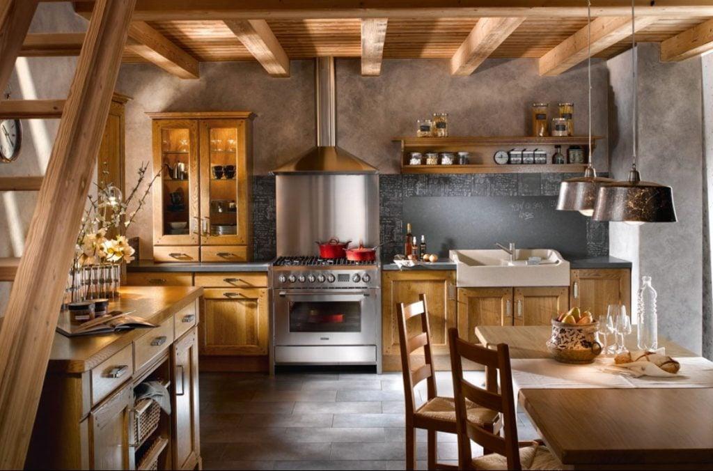 Подчеркнуть неповторимый стиль кухни в своем доме поможет не только мебель из дерева, а также оформленные потолки и стены натуральными материалами