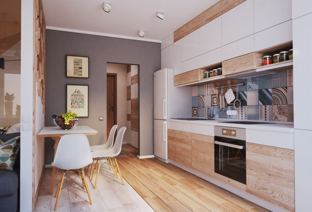 Разрабатывая дизайн кухни следует спланировать рабочую зону приготовления пищи и обеденную зону