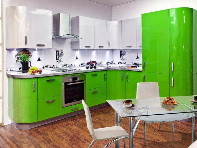 Варианты оформления бело-зеленой кухни