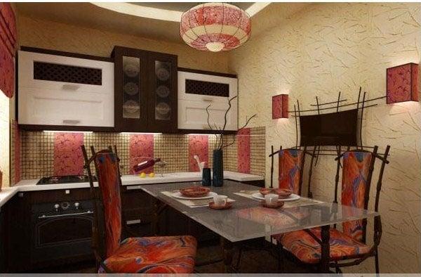 Восточной плиткой на кухне можно выложить фартук рабочей зоны который будет выглядеть стильно и эстетично