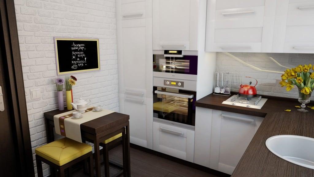 Выбирая мебель стоит отдать предпочтение гарнитурам со столешницами небольшой ширины и включить в комплектацию угловые шкафы и тумбы