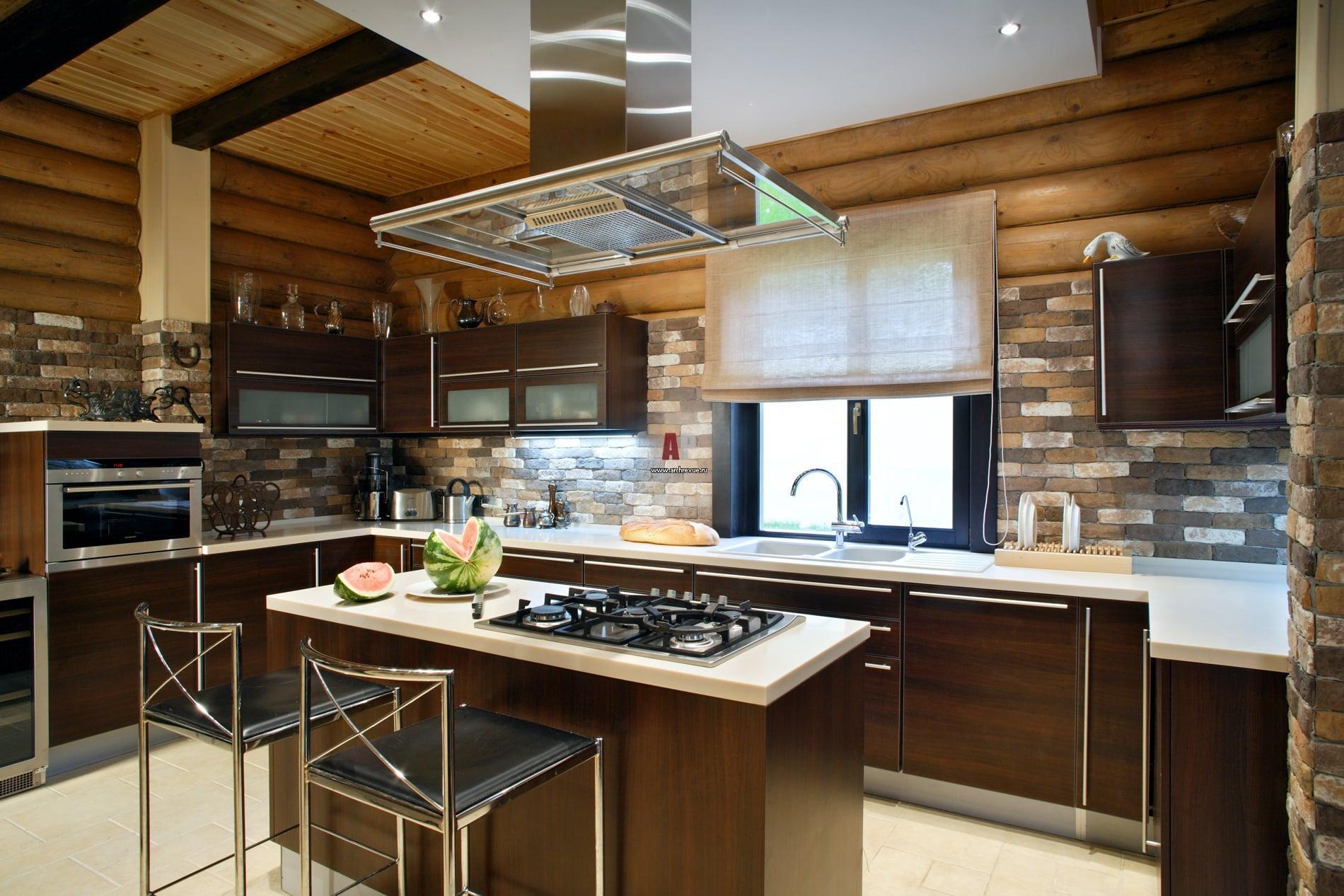Интерьер деревянных кухонь