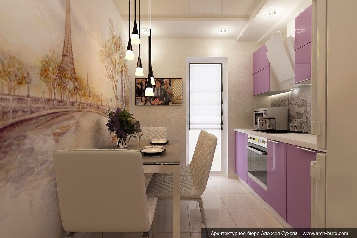 Дизайн кухни узкой прямоугольной