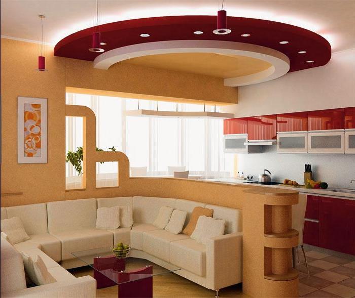 Оформляя кухню и гостиную можно выделить зоны с помощью декора