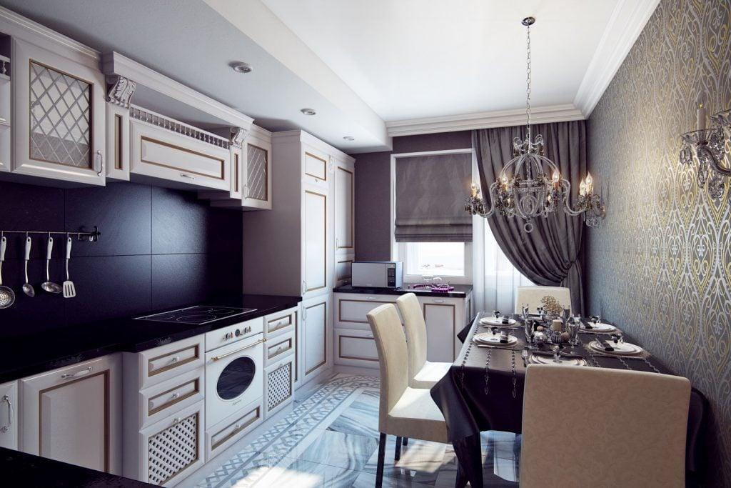 При оформлении кухни в данном стиле важно использовать элементы декора в золоте