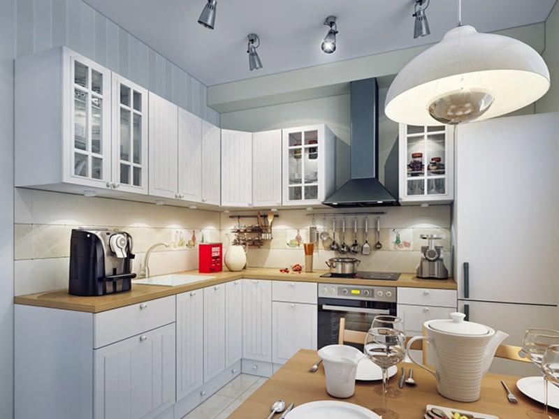 Правильное распределение света на кухне поможет зрительно увеличить комнату