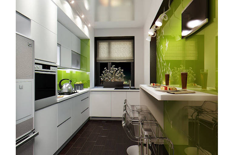 Светлые оттенки мебели и акцент на одной стене украсят комнату