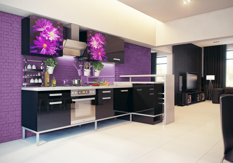 Гарнитур на фиолетовом фоне
