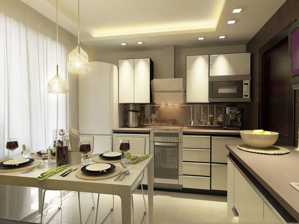 Как и отделу на кухне небольшого размера мебель и элементы декора лучше подобрать светлых тонов