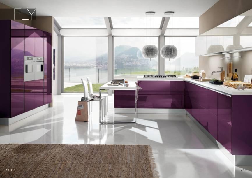 Фиолетовый оттенок чаще можно встретить в кухнях современного стиля которому присущи глянцевые поверхности