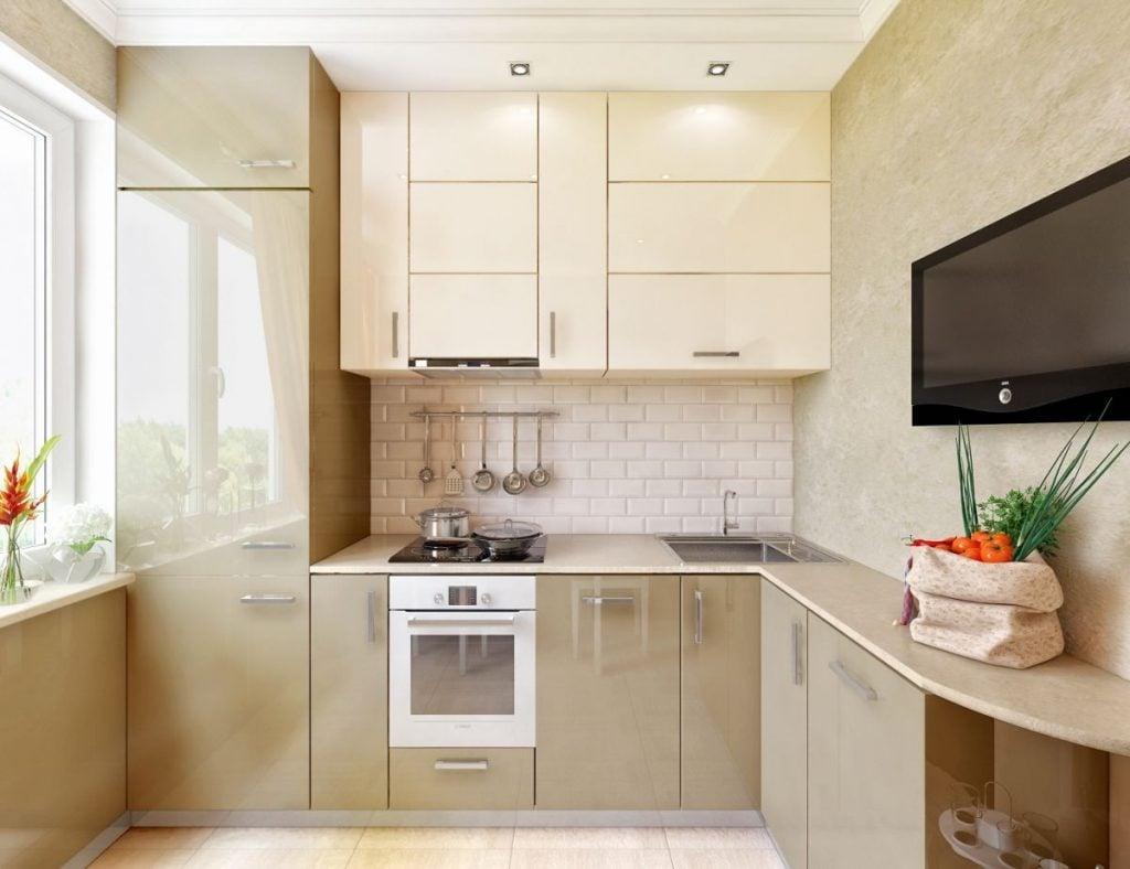 Угловой вариант кухонного гарнитура прекрасно подойдет для небольшой комнаты