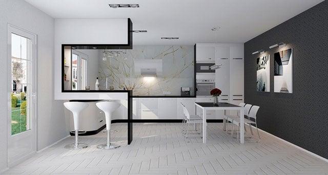 При разработке дизайна интерьера преобладают белый и холодный серый цвета