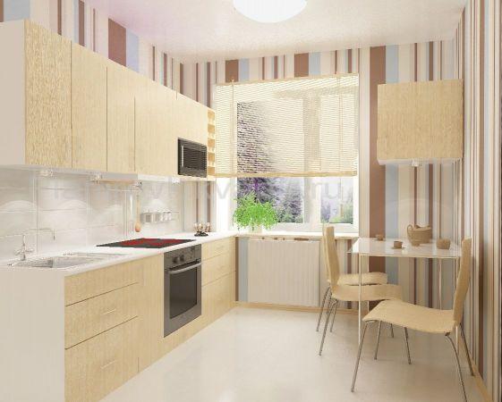 Дизайн кухни 9 кв метров прямые.