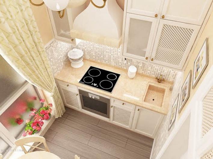 Уютная небольшая кухня с французскими окнами - украшение городской квартиры