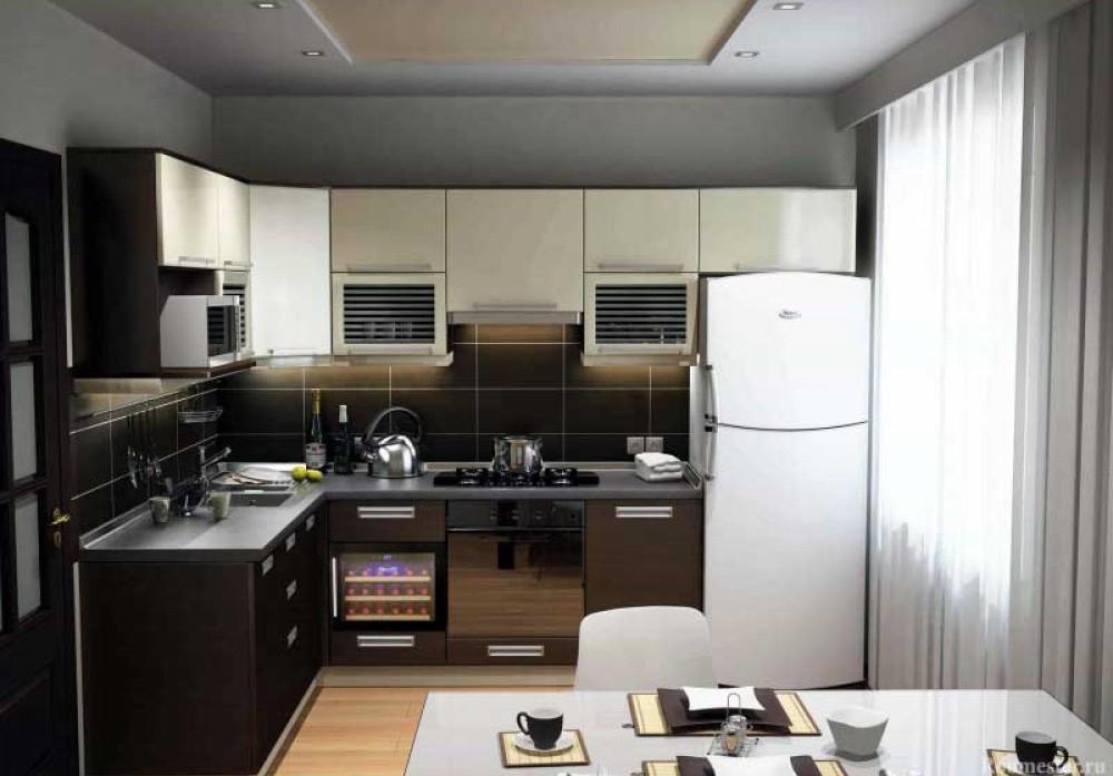 Стиль модерн тоже используется для тесной кухни