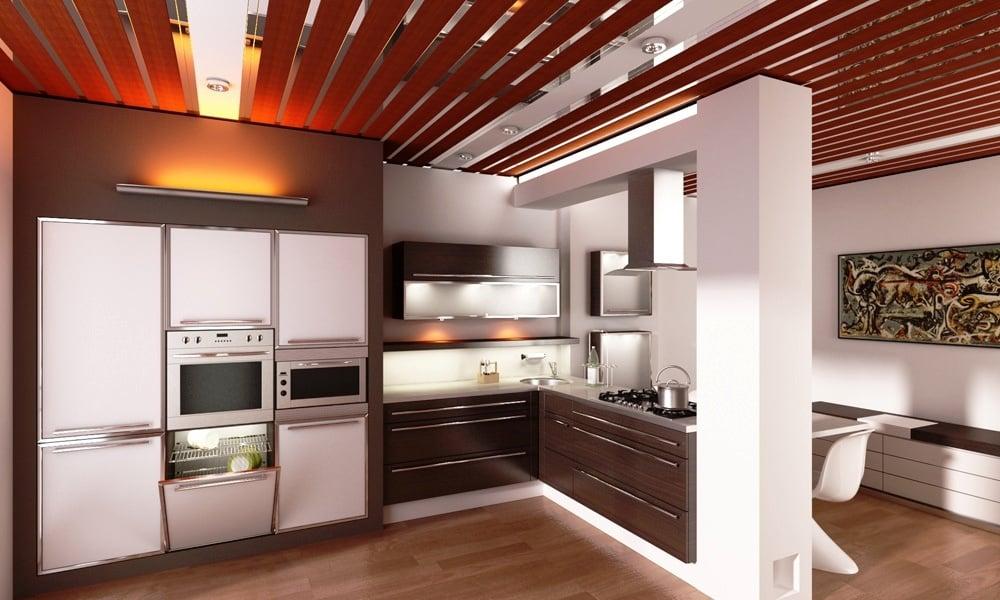 Фото примеров дизайнерских решений оформления потолка помогут подобрать вариант по душе