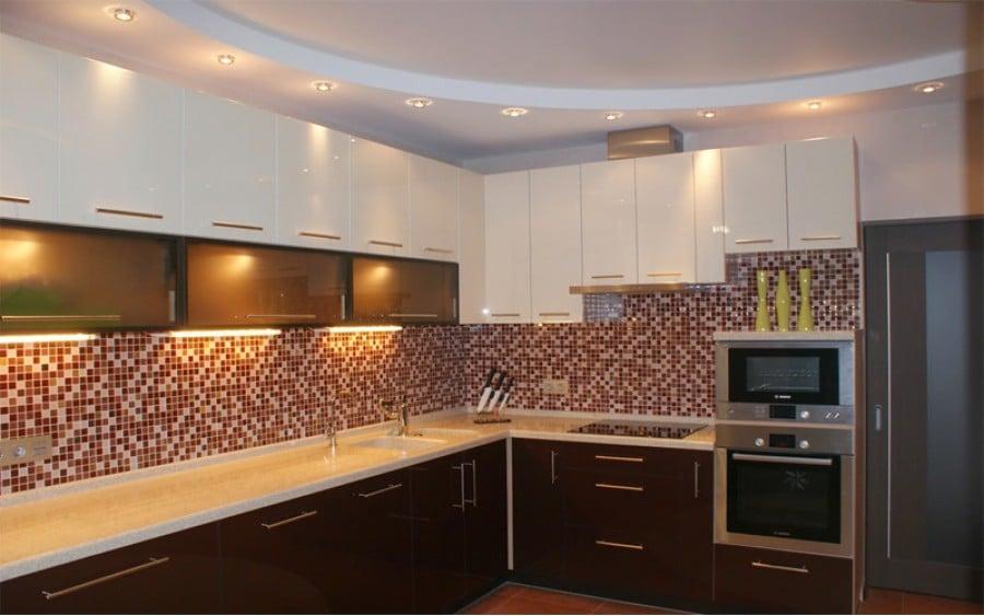 натяжные потолки для кухни фото двухуровневые