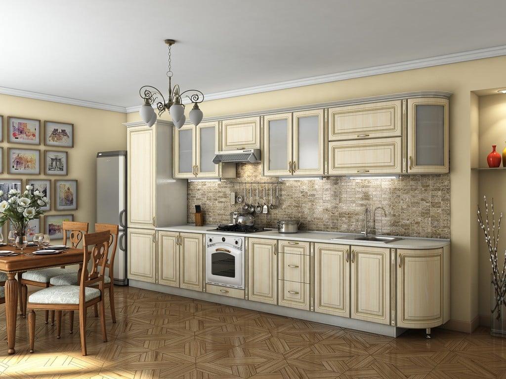 Светлая кухня с желтой патиной