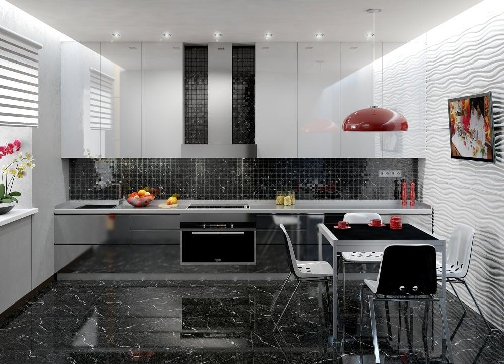 Вариант оформления кухни на контрастном цвете темного пола и светлой мебели