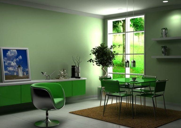 Обеденная зона в зеленой кухне