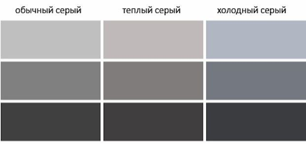 Таблица базовых серых оттенков