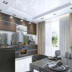 Белый глянцевый потолок зрительно увеличивает пространство кухни