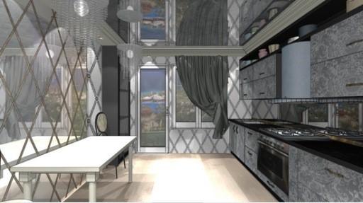 Фасады шкафчиков с изысканным рисунком красиво сочетаются с глянцевой плиткой на стенах и хрустальными люстрами над обеденным столом