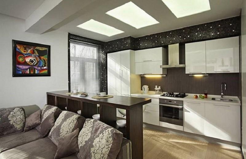 Кухня, соединенная с гостиной