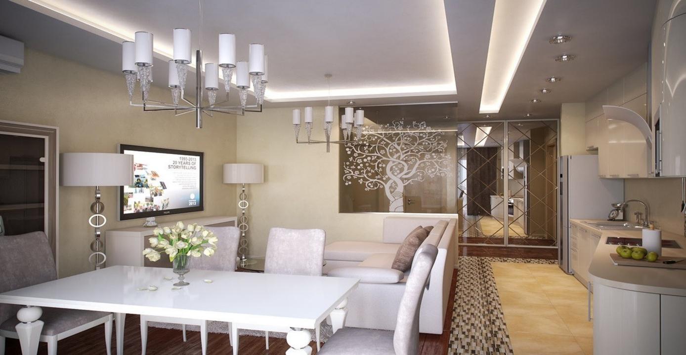 Организация освещения зоны гостиной