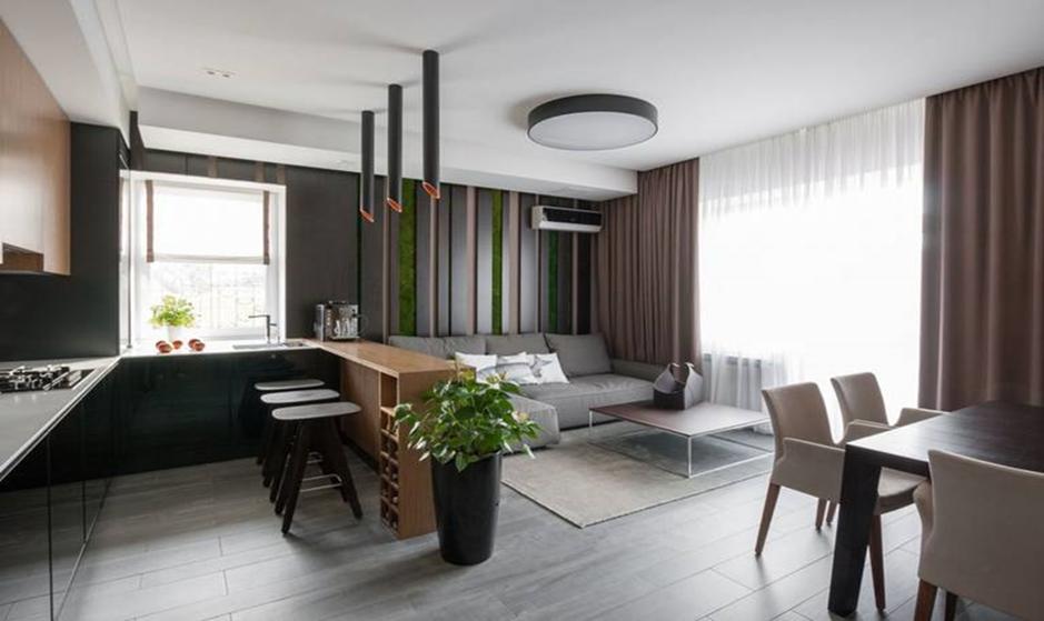 Кухня столовая гостиная с барной стойкой в минимализме