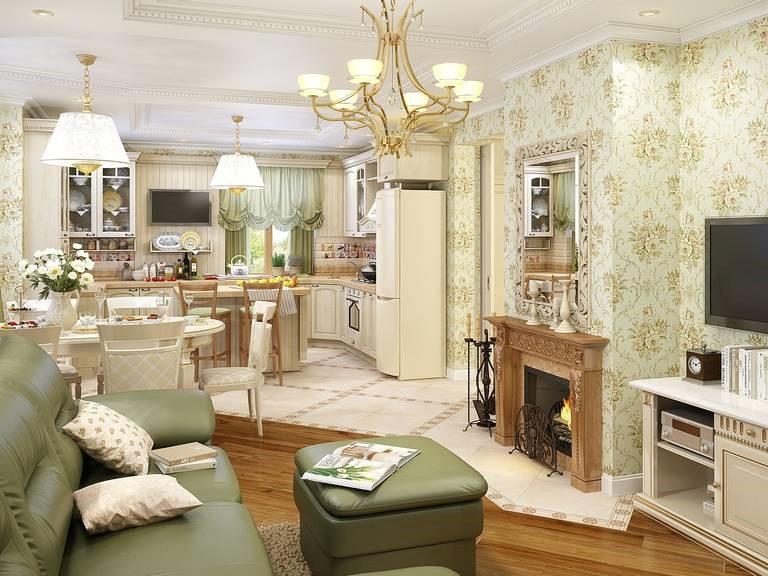 Комфорт прованса в кухне-гостиной
