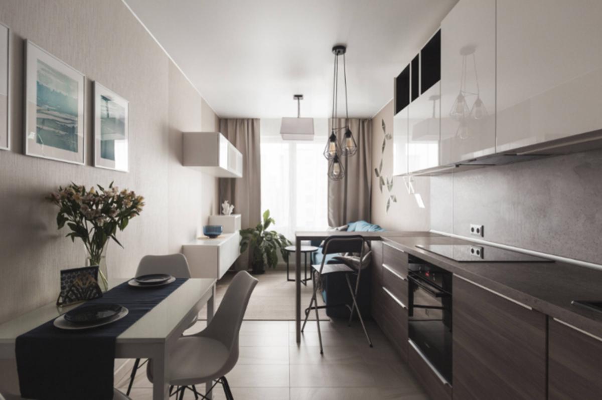 Меблировка кухни с одним окном в стиле минимализм