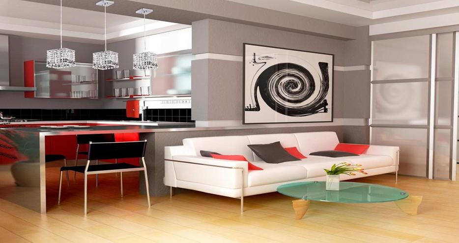 Объединение кухни в красно- черном оформлении снесением части стены