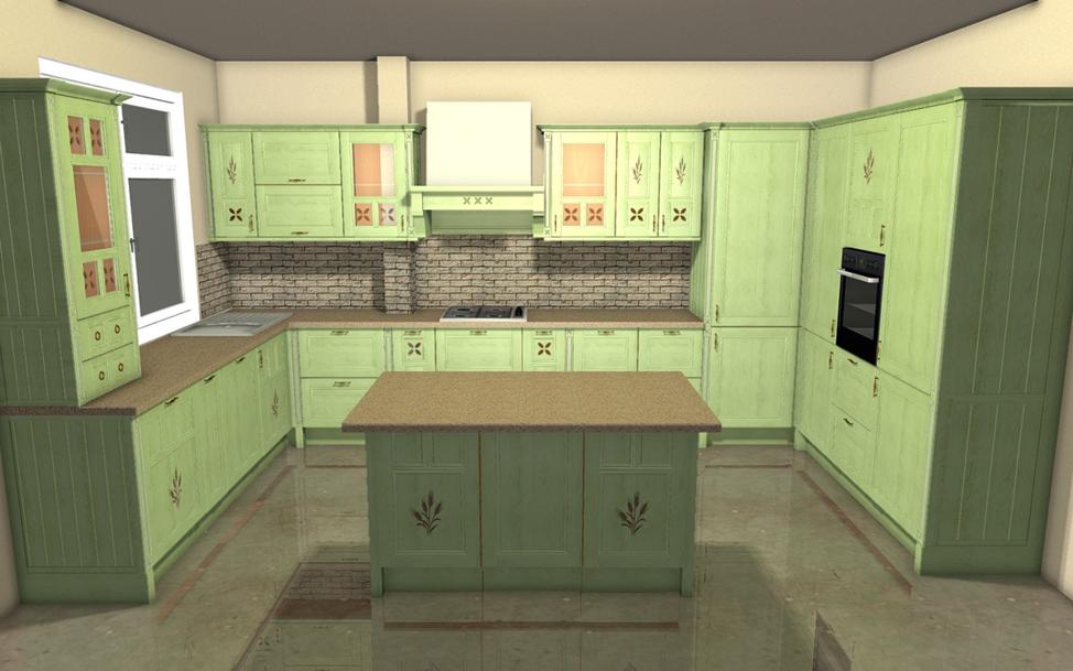 П-образная кухня с островом в центре