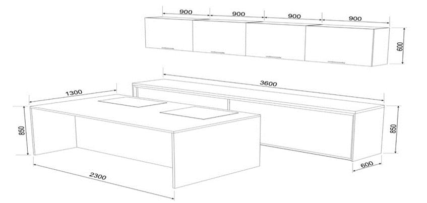 Размеры центрального острова, оборудованного мойкой и плитой