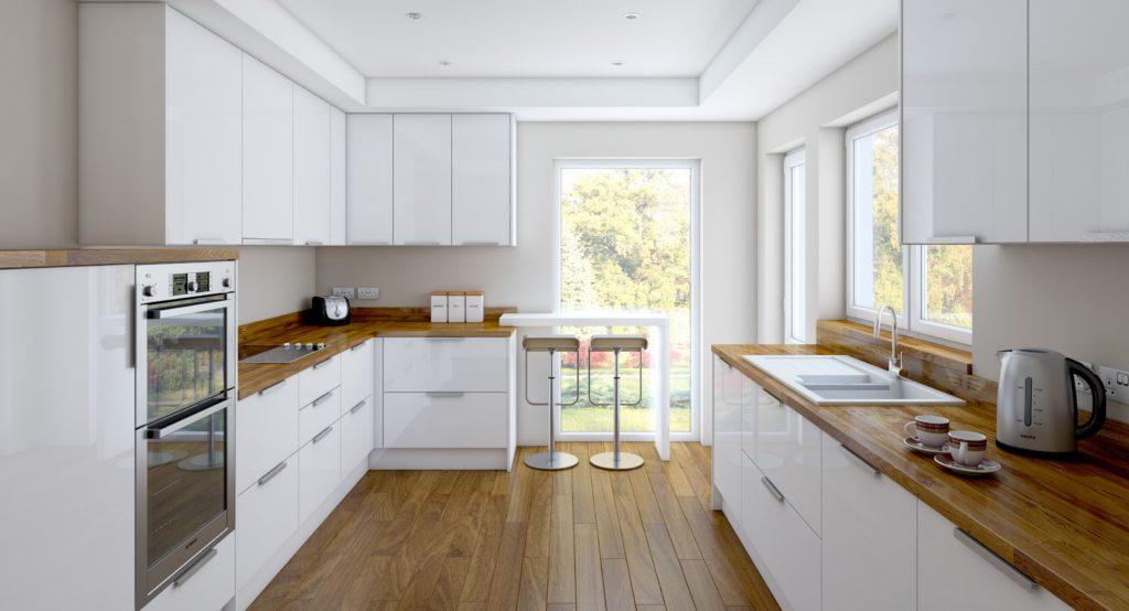 Глянец придает легкость и визуально расширяет границы помещения.
