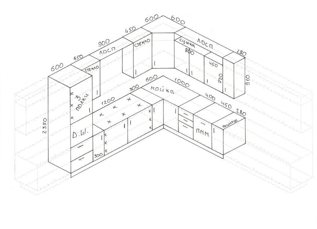 Размеры кухонных шкафов. Стандартные чертежи каждой боковой стенки не отличаются и считаются универсальными для каждой секции нижнего яруса